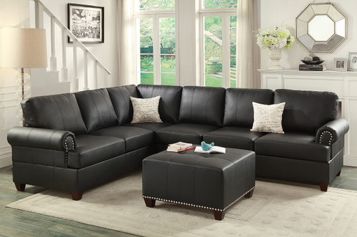 BLACK REVERSIBLE LEFT/RIGHT 2 PCS SECTIONAL SOFA AND LOVESEAT W/2 ACCENT PILLOWS