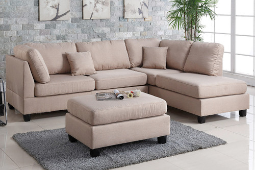 REVERSIBLE 3-pcs SECTIONAL SOFA SET W/OTTOMAN IN SAND LINEN