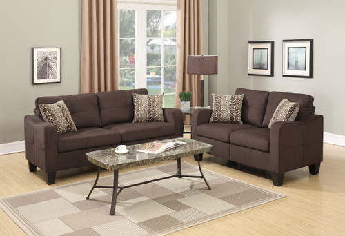LOVESEAT SOFA SET WITH FOUR ACCENT PILLOWS AND IN CHOCOLATE LINEN