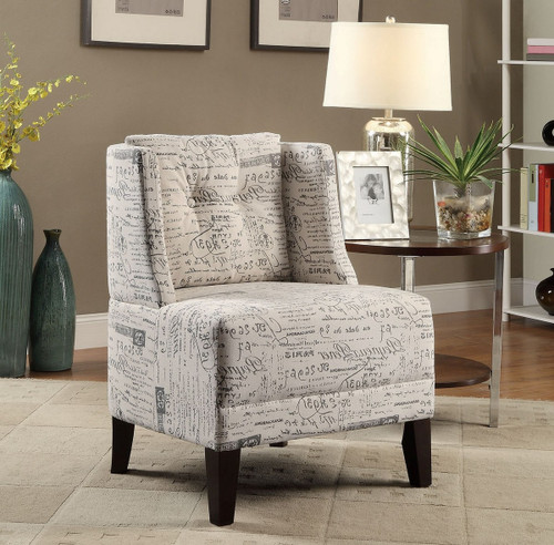PRINTED SCRIPT PATTERN FABRIC ACCENT CHAIR