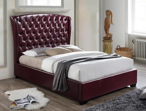 KAITLYN Wine Color Bottom Tufted Platform Bed (No Boxspring Required)