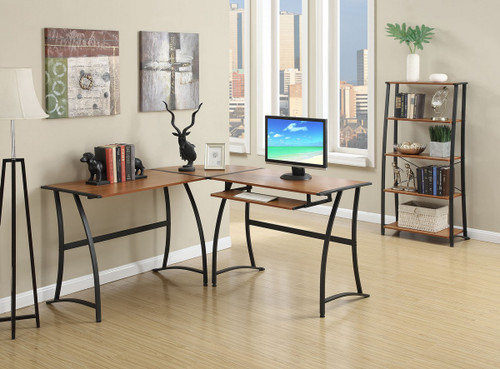 3 PCS WORKSTATION WITH WRITING DESK A CORNER TABLE AND A 5 TIER SHELF