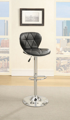 ADJUSTABLE 2 PIECES BLACK LEATHER BAR STOOL
