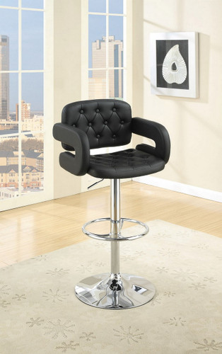 ADJUSTABLE BLACK FAUX LEATHER 2 PIECES BAR STOOL WITH ARMREST