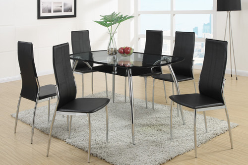 7-PCS MODERN 8MM TEMPERED GLASS TOP DINING ROOM SET BLACK