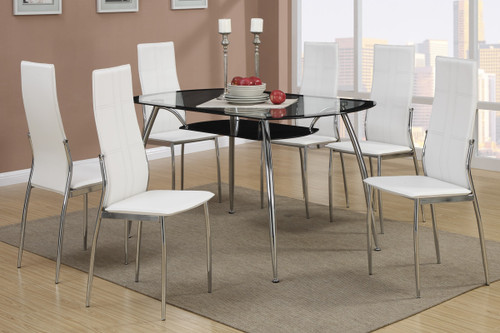 7-PCS MODERN 8MM TEMPERED GLASS TOP DINING ROOM SET WHITE