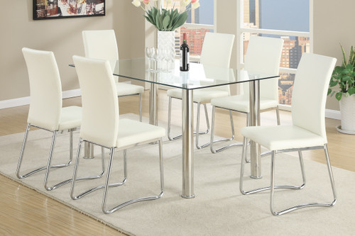 5-PCS WHITE MODERN DINING ROOM SET IN CLEAR 10MM TEMPERED GLASS TOP TABLE