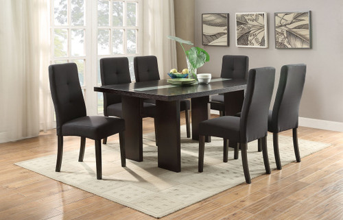 7-PCS BLACK FUTURISTIC STYLE FORMAL DINING ROOM SET