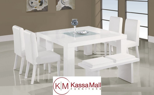 5 PCS WHITE MODERN WOODEN DINING SET