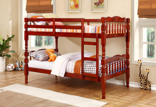 CHERRY TWIN OVER TWIN BUNK BED AND 2 MATTRESS COMBO