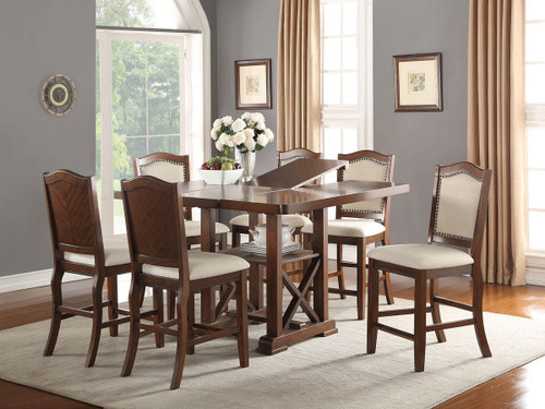 SET OF 5 DARK CHERRY FINISH WOOD COUNTER HEIGHT DINING TABLE WITH PADDED SEATS
