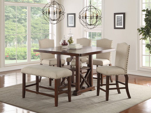 SET OF 5 COUNTER HEIGHT DINING TABLE IN DARK CHERRY FINISH WOOD WITH PADDED SEATS