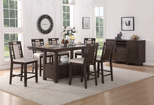 5PCS COUNTER HEIGHT DINING TABLE SET W/ FUNCTIONAL LOWER DISPLAY SPACE