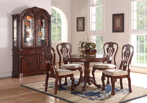 5PCS ROUND DINING TABLE SET IN DARK CHERRY WOOD FINISH