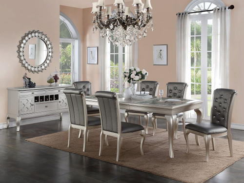 5 PIECE FORMAL DINING TABLE SET IN ANTIQUE SILVER FINISH