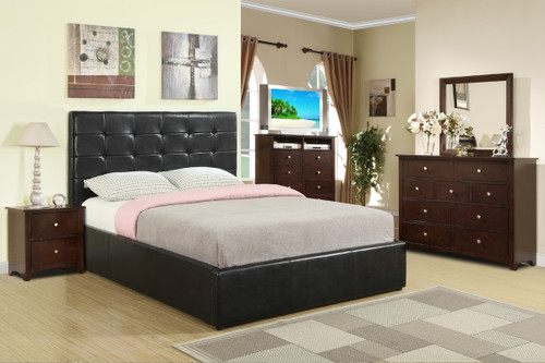 QUEEN/FULL SIZE ESPRESSO BED PLATFORM WITH COMPARTMENT