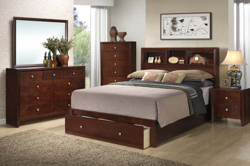 CHERRY BEDROOM BED FRAME PLATFORM WITH STORAGE