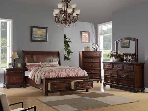 SLEIGH DESIGN KING/QUEEN BED FRAME IN CHERRY WOOD FINISH WITH 2 UNDER STORAGES