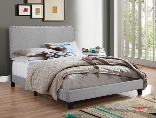ERIN Nailhead Gray Fabric Upholstered Bed