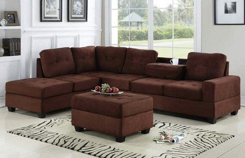 3 PCS HEIGHTS MICROFIBER SECTIONAL WITH DROP DOWN CUP HOLDER WITH OTTOMAN IN CHOCOLATE
