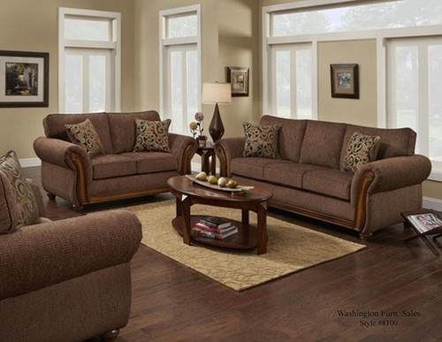 2PC WASHINGTON Delray Fudge Sofa and Loveseat Set