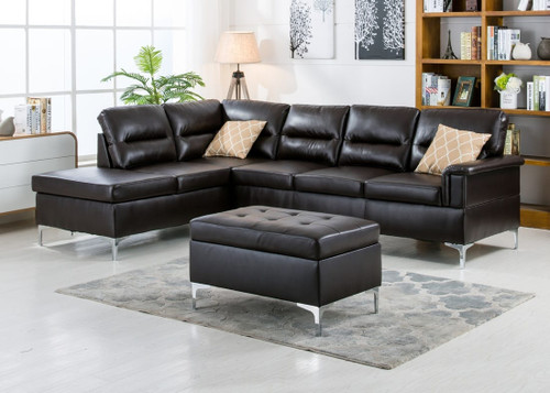 BARRY SECTIONAL AND OTTOMAN SET - Espresso