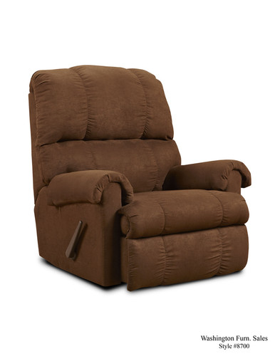 Chocolate Microfiber Rocker Recliner - 8700 Choc