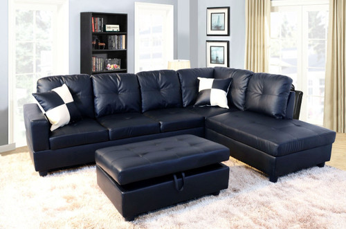 2 PCS William BLACK SECTIONAL WITH ACCENT PILLOWS (LEFT FACING SOFA) - F091B
