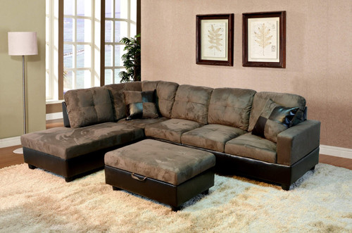 2 PCS WYATT GREEN SECTIONAL WITH ACCENT PILLOWS (RIGHT FACING SOFA)