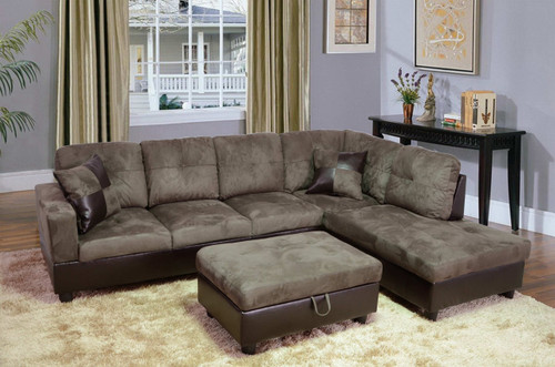2 PCS  WYATT GREEN SECTIONAL WITH ACCENT PILLOWS (LEFT FACING SOFA)