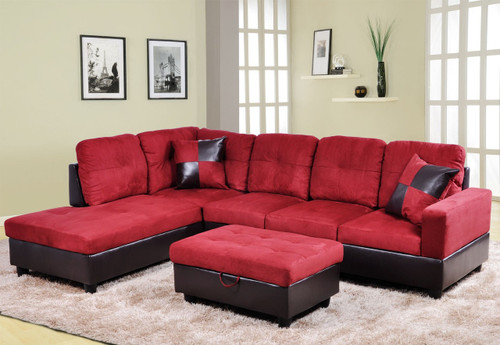 2 PCS CHRISTROPHER RED SECTIONAL WITH ACCENT PILLOWS (RIGHT FACING SOFA)