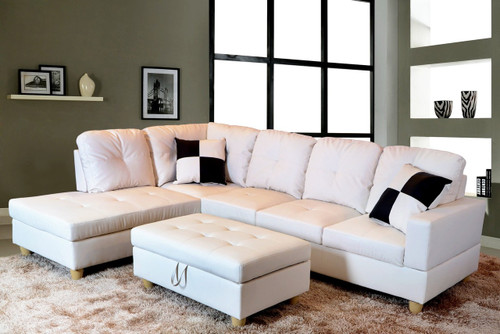 2 PCS ETHAN WHITE SECTIONAL WITH ACCENT PILLOWS (RIGHT FACING SOFA) - F092A