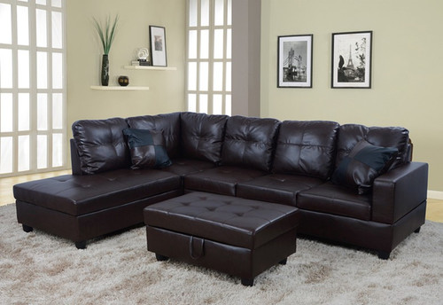 2 PCS JOSEPH BROWN SECTIONAL WITH ACCENT PILLOWS (RIGHT FACING SOFA)