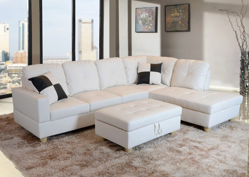 2 PCS JOSEPH WHITE SECTIONAL WITH ACCENT PILLOWS (LEFT FACING SOFA) - F093B
