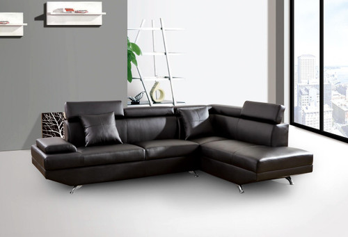 2 PCS HUNTER BLACK SECTIONAL WITH ACCENT PILLOWS (LEFT FACING SOFA)