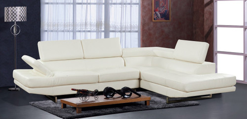 2 PCS LUIS WHITE SECTIONAL WITH ACCENT PILLOWS (LEFT FACING SOFA)