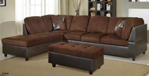 2 PCS SEBASTIAN BROWN SECTIONAL WITH ACCENT PILLOWS (RIGHT FACING SOFA)