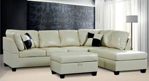 2 PCS CARTER WHITE SECTIONAL WITH ACCENT PILLOWS (LEFT FACING SOFA)
