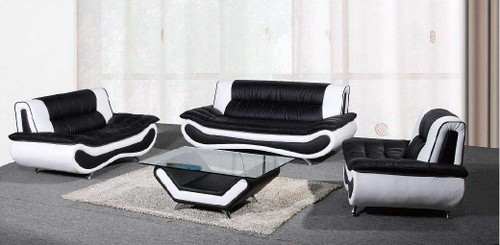 EMILY WHITE AND BLACK SOFA LOVESEAT WITH CHAIR 3 PCS Set