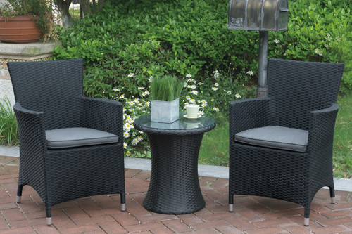 3PC OUTDOOR BLACK BISTRO SET