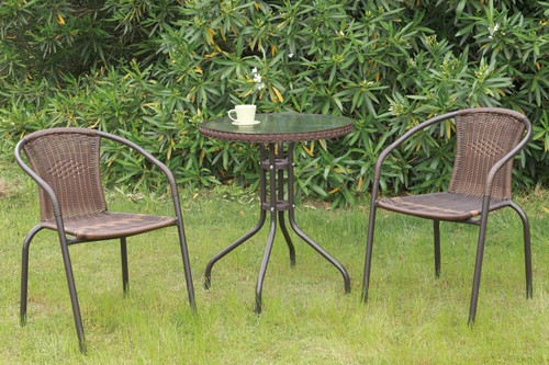 3PC OUTDOOR BISTRO SET BROWN FINISH