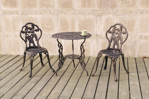 3PC BISTRO SET BEACH PALM TREE PATTERN BRONZE FINISH