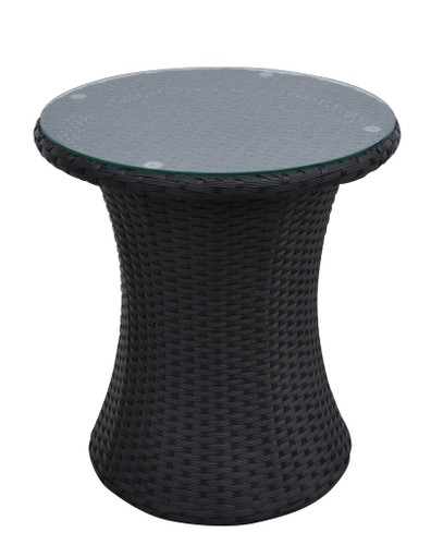 ROUND BLACK OUTDOOR SIDE TABLE