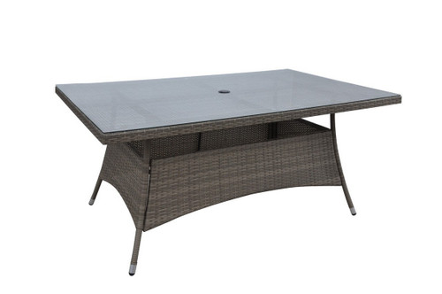 "ALUMINUM TAN RECTANGULAR OUTDOOR TABLE 63"" X 40"" X 29""H"
