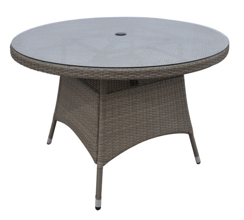 TAN OUTDOOR ROUND TABLE IN ALUMINUM FRAME