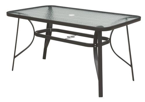 DARK BROWN OUTDOOR TABLE STEEL FRAME