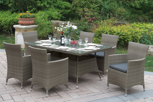 7PCS OUTDOOR PATIO TABLE SET IN TAN ALUMINUM FRAME FINISH