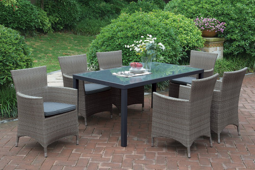7 SEATING OUTDOOR PATIO TABLE SET IN TAN FINISH
