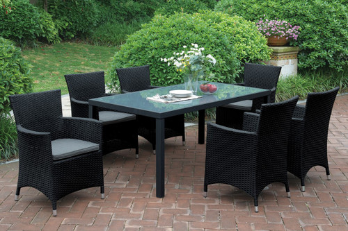 7PCS RECTANGULAR OUTDOOR TABLE SET IN DARK BROWN FINISH
