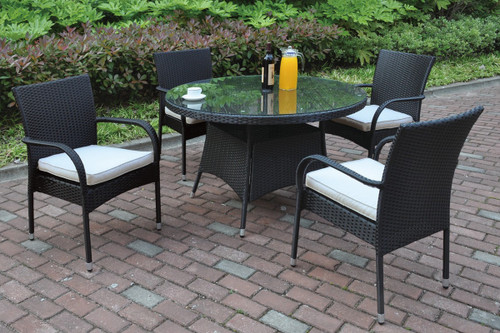 5PCS OUTDOOR PATIO TABLE SET DARK BROWN DURABLE WICKER RESIN FINISH